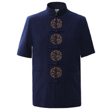 Sommer navy blau herren baumwolle stickerei dragon shirt tops vintage chinesische Kung Fu Kurzarm Hemd Tang-anzug Größe M-XXXL