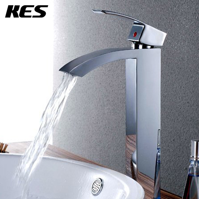KES L3109B Soild Brass Bathroom Single Handle Waterfall Vessel Sink Faucet  With High Spout Tall,