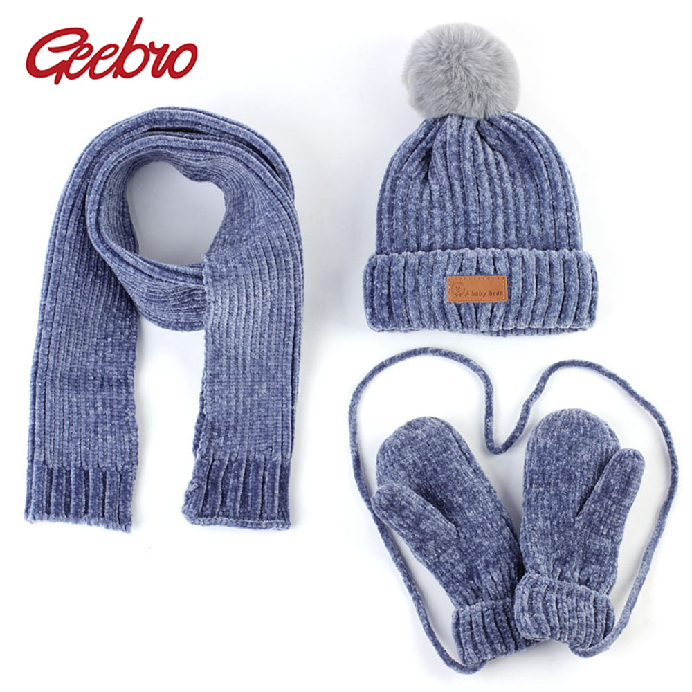 Geebro 0-3 Years Old Baby Hat Scarf Gloves Winter Warm Corchet Chenille Slouchy Beanie And Scarf For Boys And Girls Kids Set