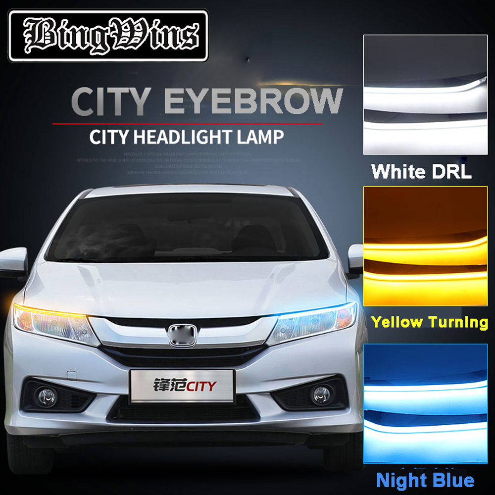 где купить Car Headlight LED Eyebrow Daytime Running Light DRL With Yellow Turn Signal Light For Honda City 2014-2017 9600Lm по лучшей цене