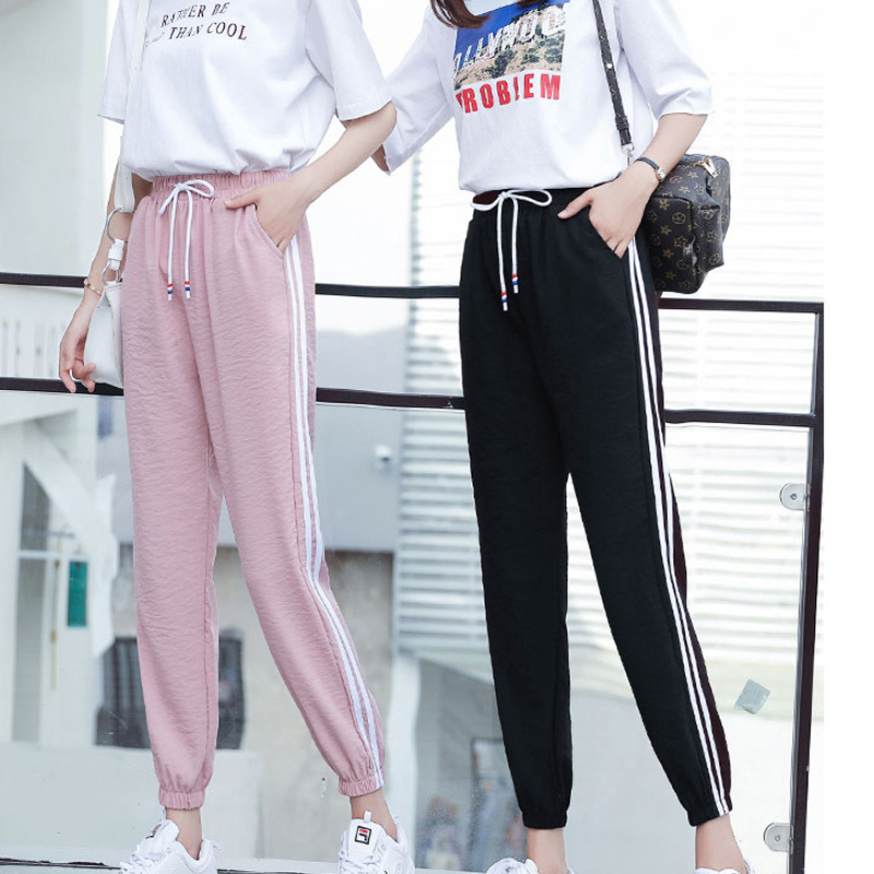 Good Elastic Sweatpants Pants Women Side-striped Loose Bottoms High Waist Ankle-length Leisure Jogger Haren Pants Loose Trousers