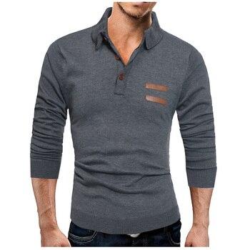 Camiseta Polo para hombre marcas 2018 hombre manga larga moda Casual Delgado sólido costura Polos hombres Jerseys talla grande XXXL