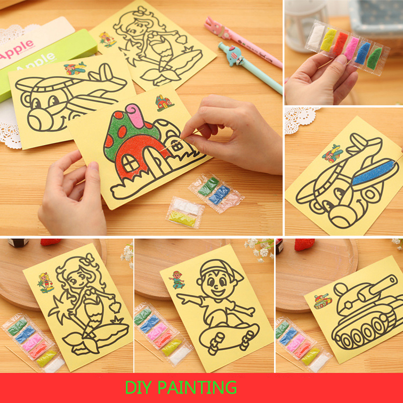 5pcs/lot Colored Sand Painting Drawing Toys Sand Art Kids Coloring DIY Crafts Learning Education Color Sand Art Painting Cards