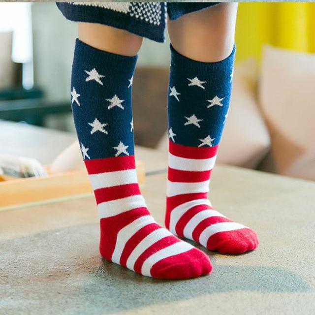 fbfe7240b Unisex Baby socks Kids Girls Cute Princess Stripes stars American flag  patton Knee High Socks for toddler boys girls