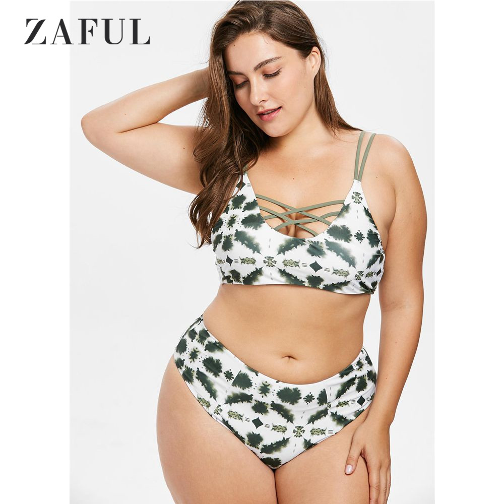 ZAFUL Plus Size Lattice Tie Dye Bikini Set Swimsuit Women