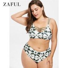 abe0e9d2b52 ZAFUL Lattice Tie Dye Bikini Set Women Swimwear Plus Size High Waisted  Swimsuit
