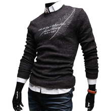 2017 New Autumn Fashion Brand Casual Sweater O-Neck Print Feathers Thin Slim Fit Knitting Mens Sweaters And Pullovers
