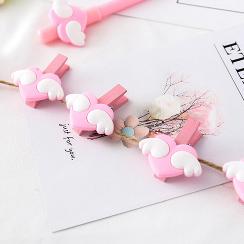5 Pcs/Lot New Pink Love Heart Wing Wood Clips File Clip Organizer Papelaria Kawaii Stationery Office School Supplies