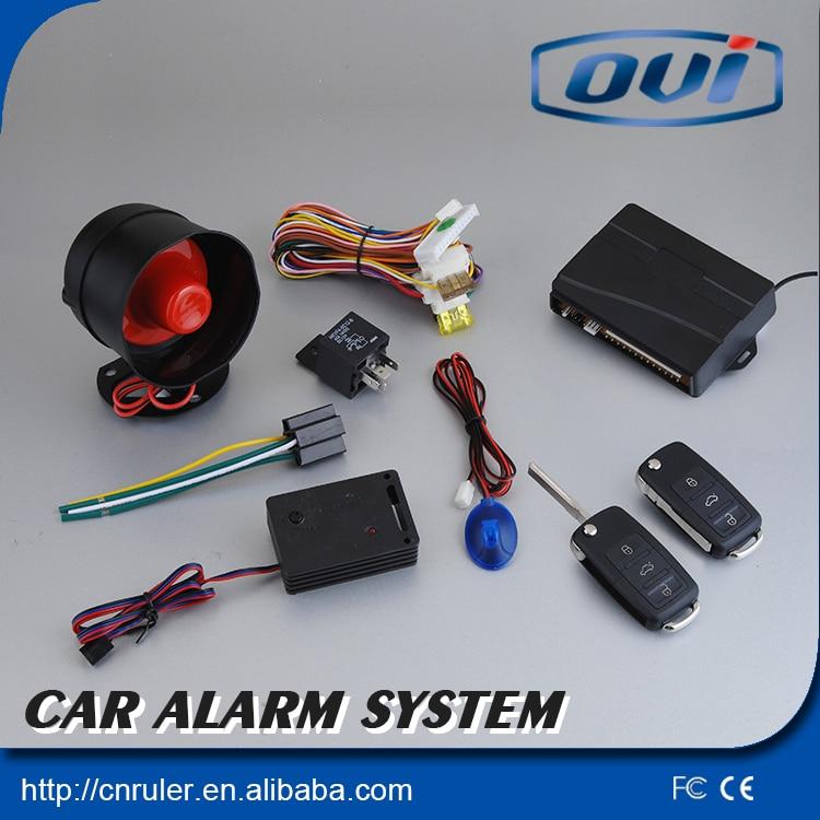Quality One Way Car Alarm System With Flip Key Remote Transmitters Alarm With Shock Sensor LED