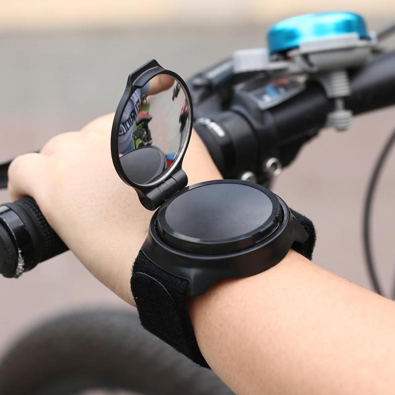 Bicycle Back Mirror Arm Wrist Strap Rear View Rearview Cycling Bike Safe Mirrors