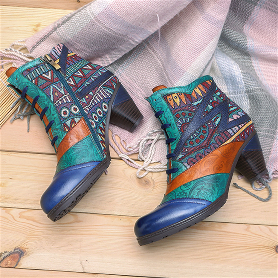 D Knight Bohemian Splicing Women Boots Retro Genuine Leather Shoes Woman Zipper Mid Heels Ankle Boots Spring Autumn Women Shoes (1)