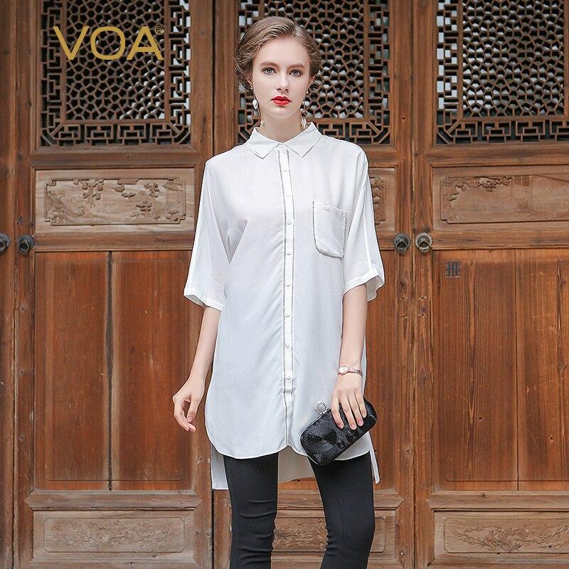VOA 2017 été bref BF Style solide blanc cassé bureau chemise de grande taille demi manches femmes Long hauts soie blouse décontractée B6697