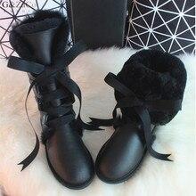BLIVTIAE/Luxury Winter Australia Knee -high  Sheepskin Snow Boots Natural Wool Sheep Fur Boots Sweet Bow Flat Women  Long Boots