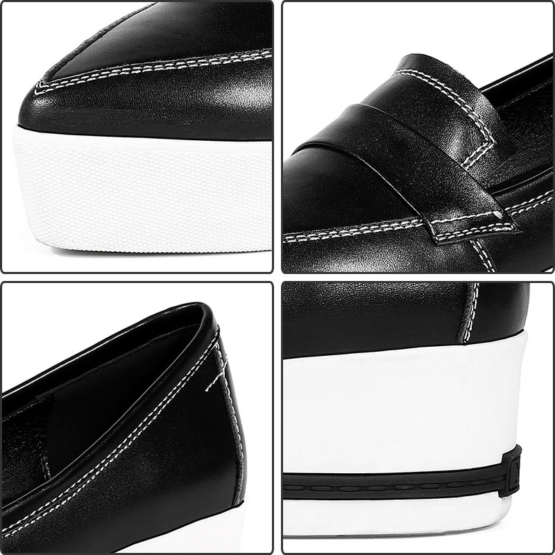 Bout 2018 Mujer Daitifen Véritable D'origine Pointu Femmes Dames Solide Scarpe Beige Couleur Confortables Marque Cuir Chaussures Sexy black PdFdr16