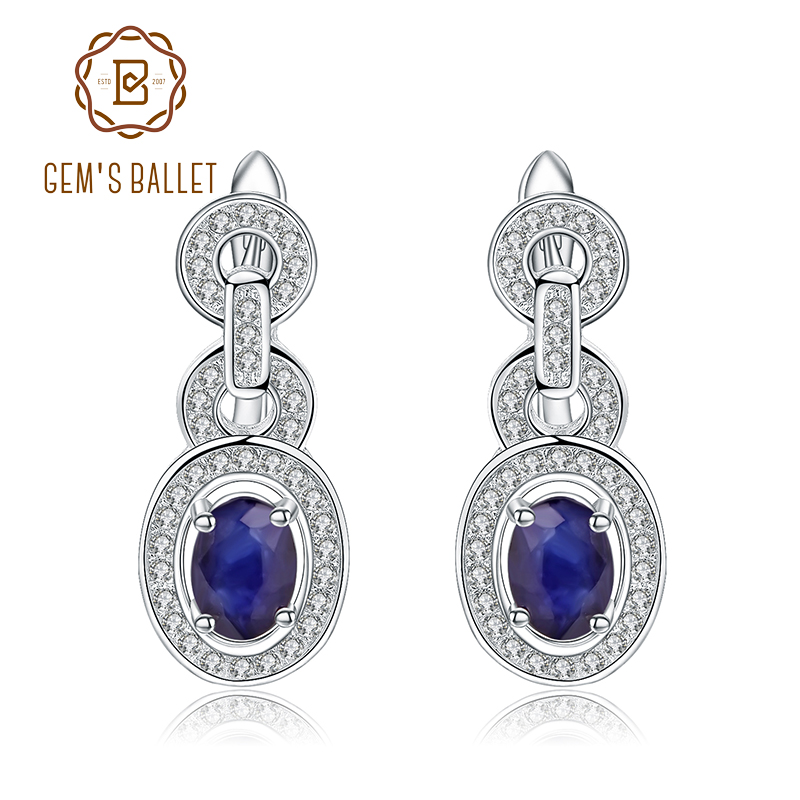 GEM S BALLET Oval 1 89Ct Natural Blue Sapphire Earrings 925 Sterling Silver Vintage Stud Earrings