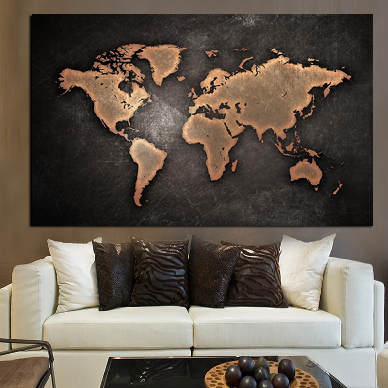 Abstract 3D World Map Canvas Painting Classical Black World Map Print On Canvas for Office Room Picture Wall Art Cuadros Decor (3)