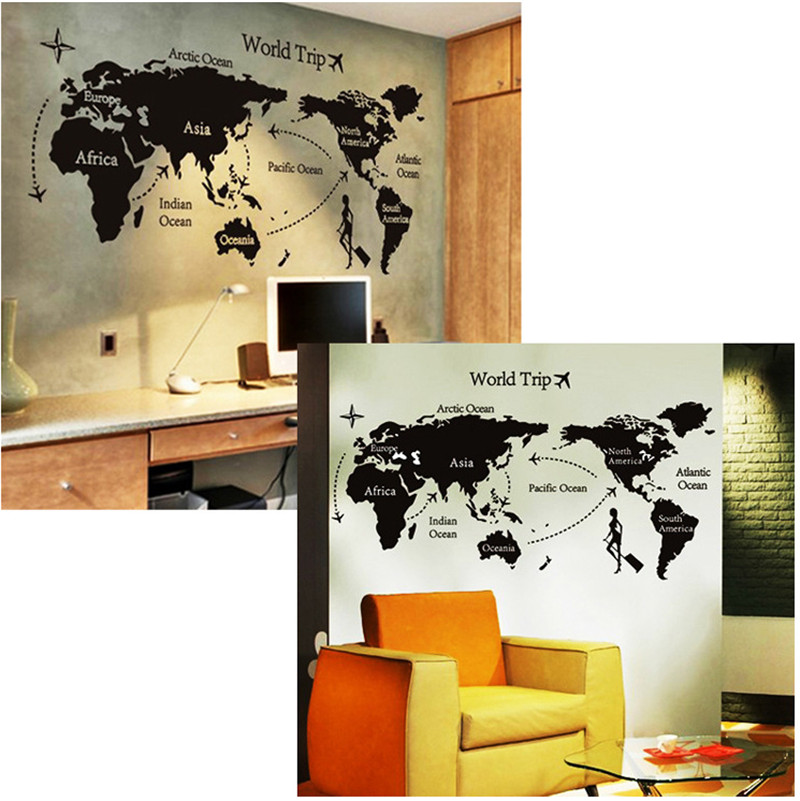 Environmental Diy Big Global World Map Atlas Vinyl Wall Sticker - Custom vinyl wall decals large   how to remove