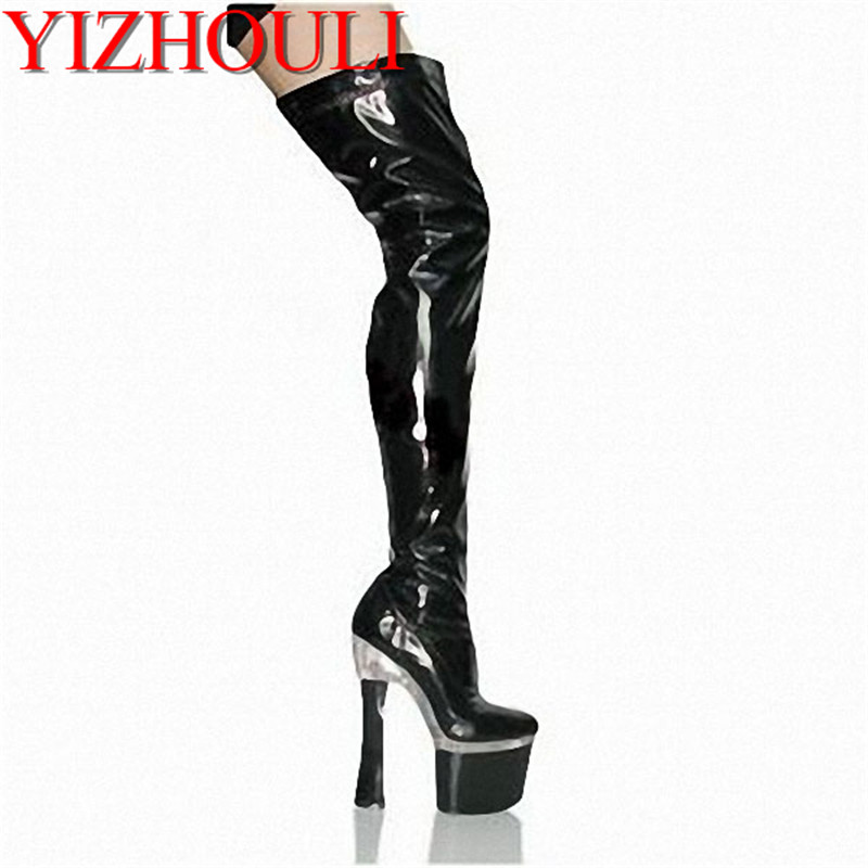 18cm ultra high heels boots platform leather 7 inch over the knee boots plus big size thigh high boots for women