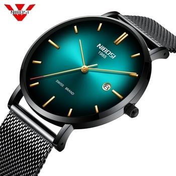 NIBOSI Fashion Leisure Men Watch Stainless Steel Army Military Sport Date Top Quartz Wrist Watch Men Business Relogio Masculino