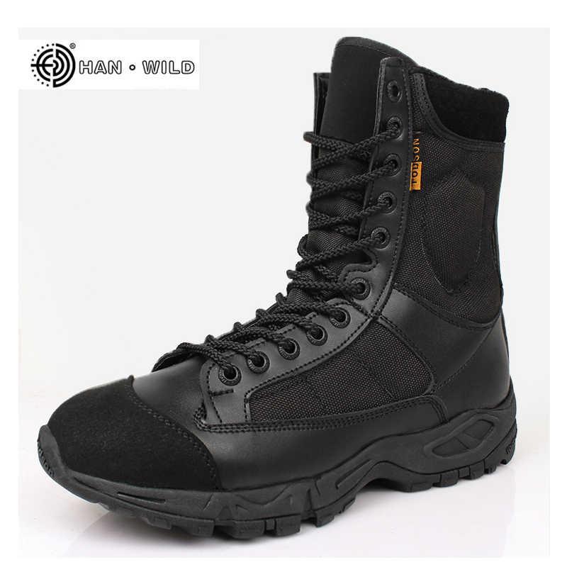 Мужские армейские военные сапоги кожаные черные на шнуровке армейские дезерты ботильоны мужские тактические рабочие зимние ботинки мужские