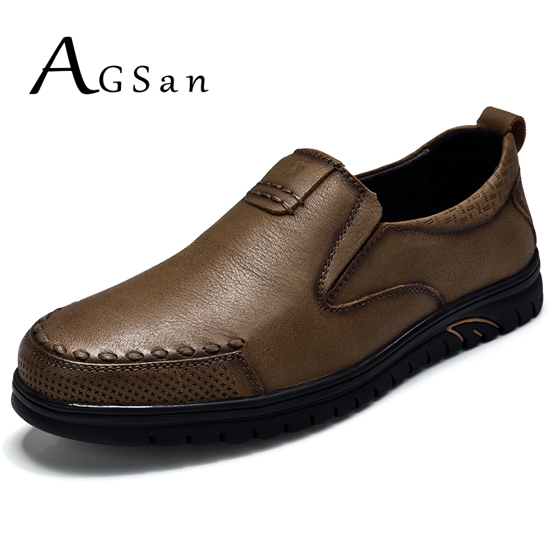 AGSan men genuine leather casual shoes slip on fashion flats handmade italian mens shoes black brown khaki luxury footwear 9.5 2017 fashion italian luxury dress mens shoes genuine leather black brown design flats for men business ol shoes brand oxford