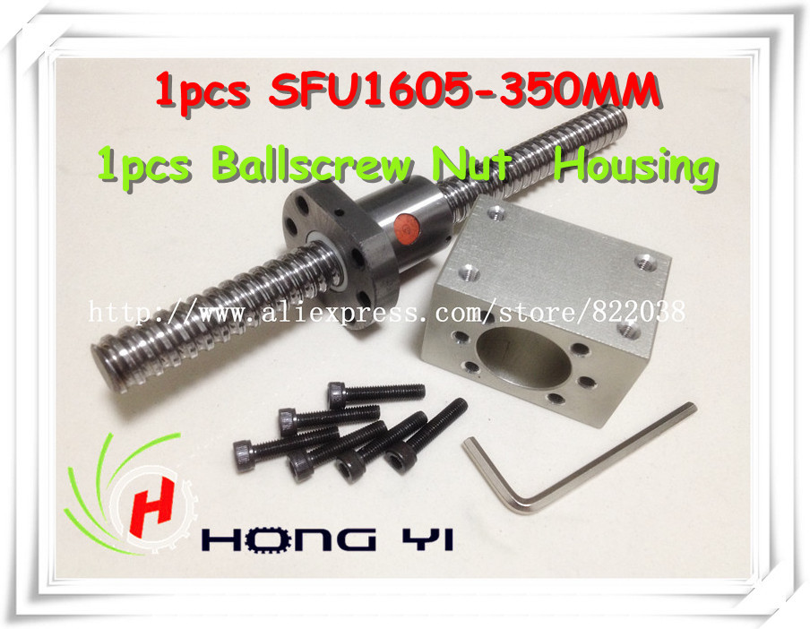 1Pcs SFU1605 Ballscrew L=350mm+1pcs ball nut + 1 Pcs RM1605 Nut Housing for CNC and BK/BF12 standard processing