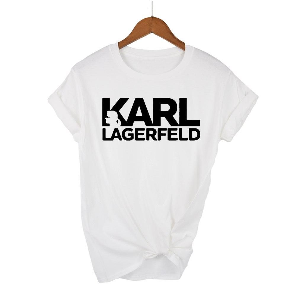 Karl Lagerfeld   T     shirt   women Unisex summer 2019 Vogue Short Sleeve Funny cotton   T     Shirts   Harajuku Tumblr Karl Who Tshirt femme