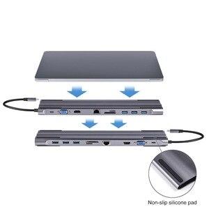 Image 5 - Док станции для ноутбука 10 в 1 Type C до USB3.0 RG45 HDMI VGA SD TF конвертер аксессуары для ноутбуков MacBook Samsung Galaxy S9