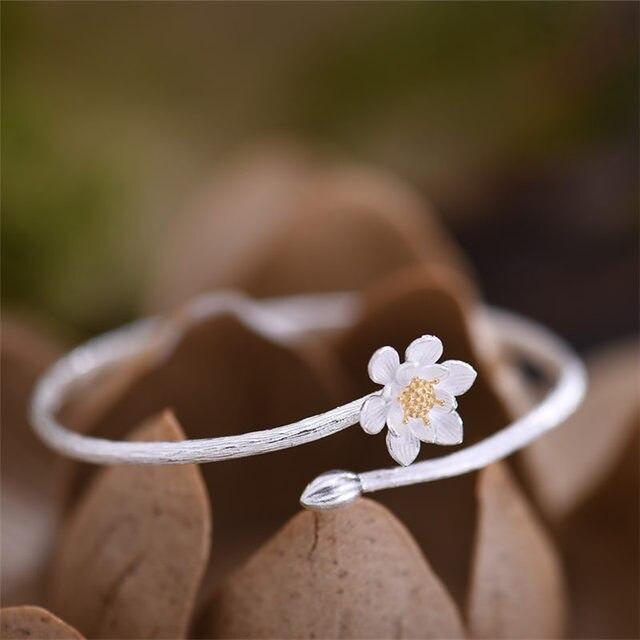 Women Fine Jewelry Bangles 925 sterling silver lotus flora / Unique Handmade Original design