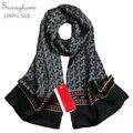 Large Silk Scarves Gray Scarf Men100% Satin Silk brand designer Black Shawl  Hijab Plaid Floral Bride Bandana Hijab Shimmer Wrap