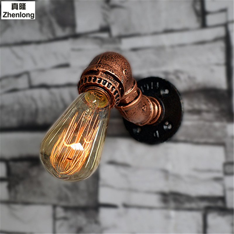 Steam Loft Industrial Iron Rust Water Pipe Retro Wall Lamp Vintage E27 Sconce Lights Steampunk House Lighting Fixtures Decor Led все цены