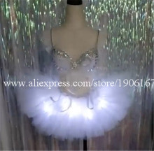 Led Light Up Sexy Lady DS Dress Suit Bra Skirt Rave Music F Costume Dance Wear