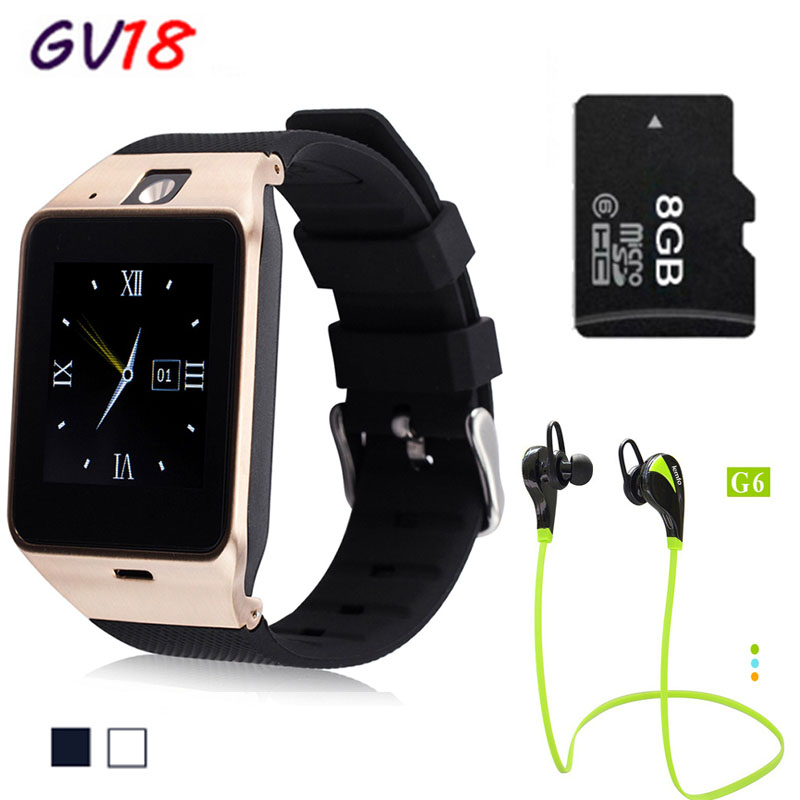 2016 NEW Bluetooth smart watch GV18 smartwatch Support SIM GSM Video camera For Android Mobile phone 1.3MP camera