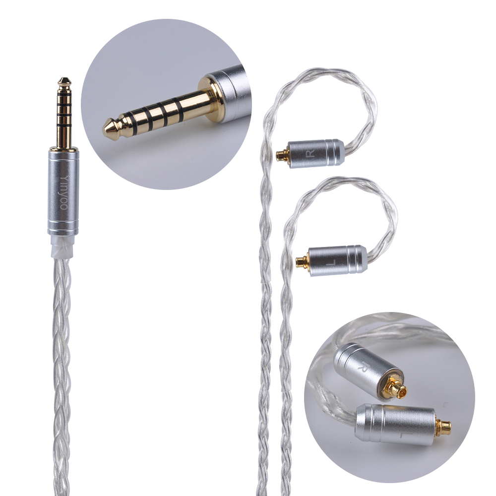 Yinyoo 8 Core Silver Plated Balanced Cable 2.5/3.5/4.4mm With MMCX/2pin Connector For LZ A5 KZ AS10 ZS10 ZST ES4 ZS6/ED16