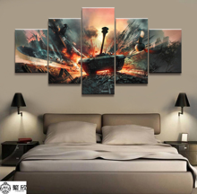5 Piece Military War World of Warships Tank World Painting Game Poster Decorative Mural Wall Decor