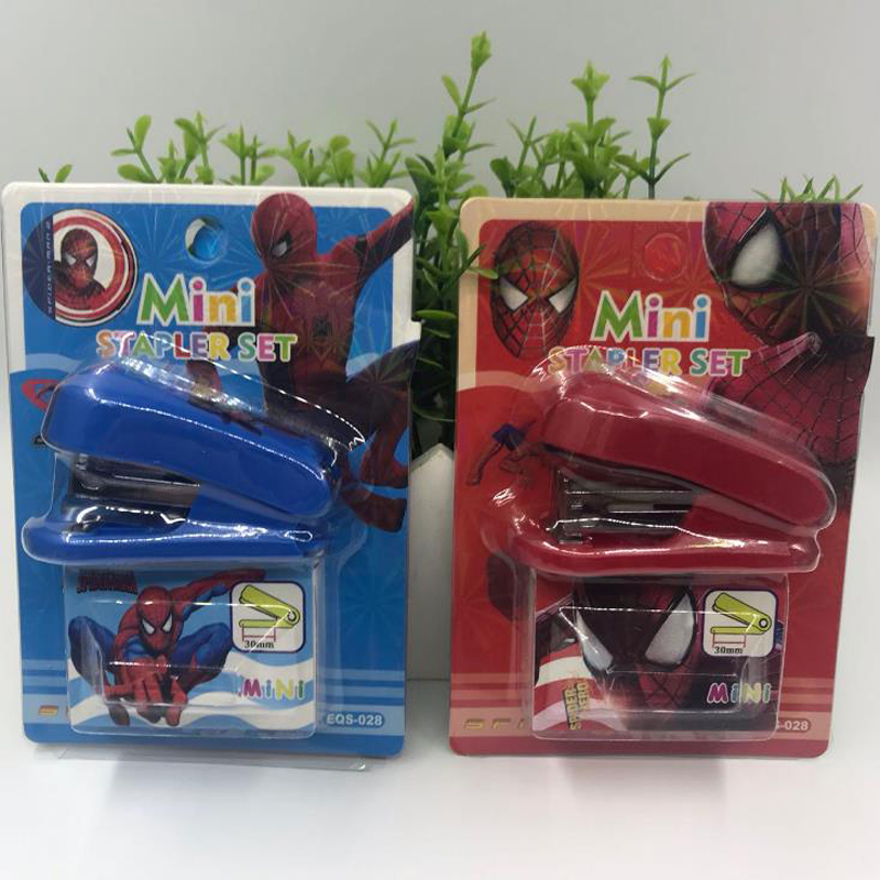 1 Set Cartoon Mini Super Hero Spiderman Stapler Staples Set Binding Book Paper Clip Binders Korean Stationery Gifts