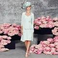Céu Azul Chiffon Mãe Dos Vestidos de Noiva Com Jaqueta Joelho Luva Dos Três Quartos Anne gelin elbise Madrinha Vestido