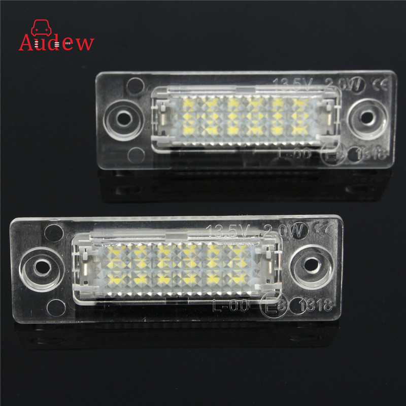 2Pcs White LED 3528 SMD License Plate Lights Number Plate Lamp For Volkswagen/Skoda Superb 2pcs car led license plate lights 12v white smd3528 led number plate lamp bulb kit for ford focus c max 03 07