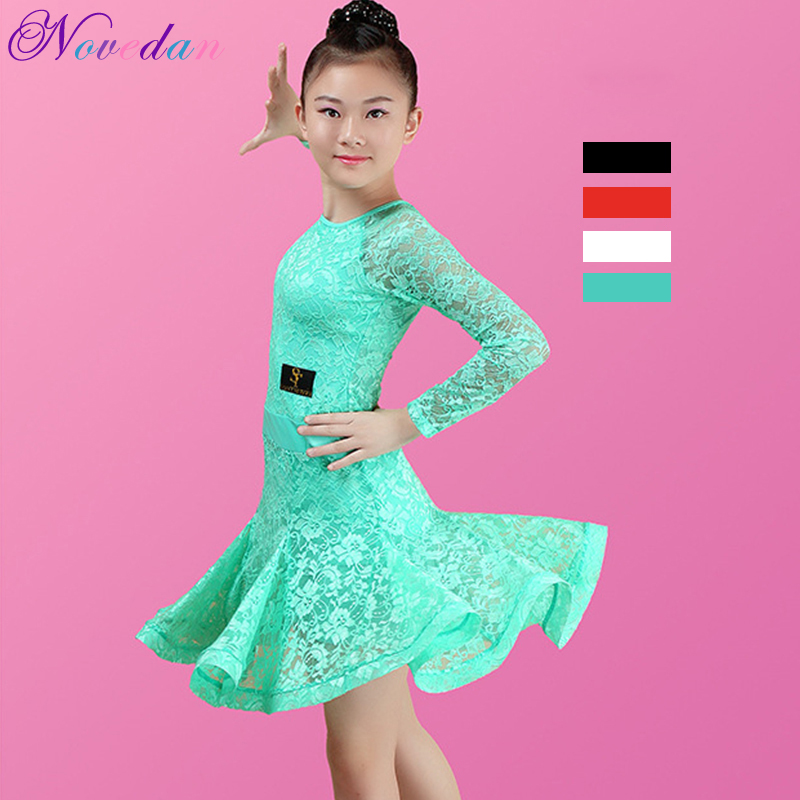White Lace Kids Latin Dance Dresses Girls Modern Dance Costumes For Kids Tango Ballroom Dress Clothes For Dancing Rumba