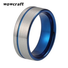 Blue Mens Womens 8mm tungsten carbide Ring Wedding Band Flat Brushed Finished Comfort Fit