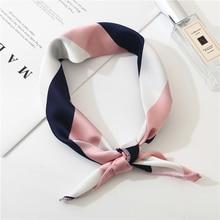 Новинка, женский шарф на весну и лето, шелковый шарф маленького размера, квадратный шейный платок для офиса, женские шарфы, весенние шали, 50*50 см