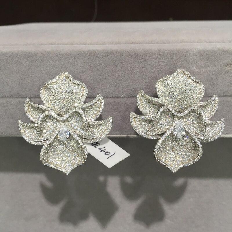 Exagération fleur boucles d'oreilles grande fleur 925 en argent sterling avec zircon cubique mode femmes bijoux magnifique luxe