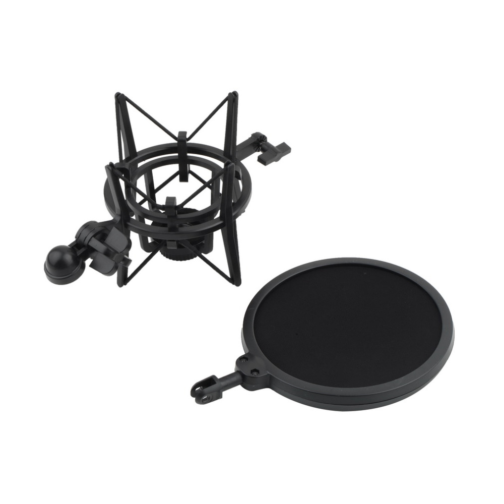 High Quality 1 Set Microphone Shock Mount Stand Holder with Integrated Pop Filter Black Kit 6