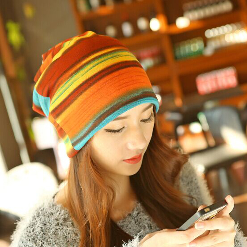 1 Pcs Fashion Autumn Winter Stripe Empty Knitted Cap Skullies Beanies Scarf Hats Two Use For Women 4 Colors Free Shipping 2017 letter 2018 beauty hat for women knitted cap autumn winter warm skullies beanies empty hat scarf two use 3 colors 8404