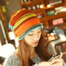 1 Pcs Fashion Autumn Winter Stripe Empty Knitted Cap Skullies Beanies Scarf Hats Two Use For Women 4 Colors Free Shipping