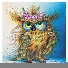 5d diamond embroidery picture colorful Owl bird  painting animal round mosaic cross stitch embroidered animals