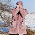 MX151 Новое Прибытие 2016 vintage вышитые с капюшоном негабаритных длинный теплая шерсть овечья шерсть пальто зимнее пальто женщин