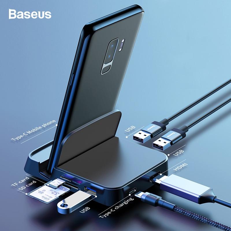 Baseus Type C HUB Docking Station For Samsung S10 S9 S8 Dex Pad Station USB C To HDMI Dock Power Adapter For Huawei P30 P20 ProBaseus Type C HUB Docking Station For Samsung S10 S9 S8 Dex Pad Station USB C To HDMI Dock Power Adapter For Huawei P30 P20 Pro