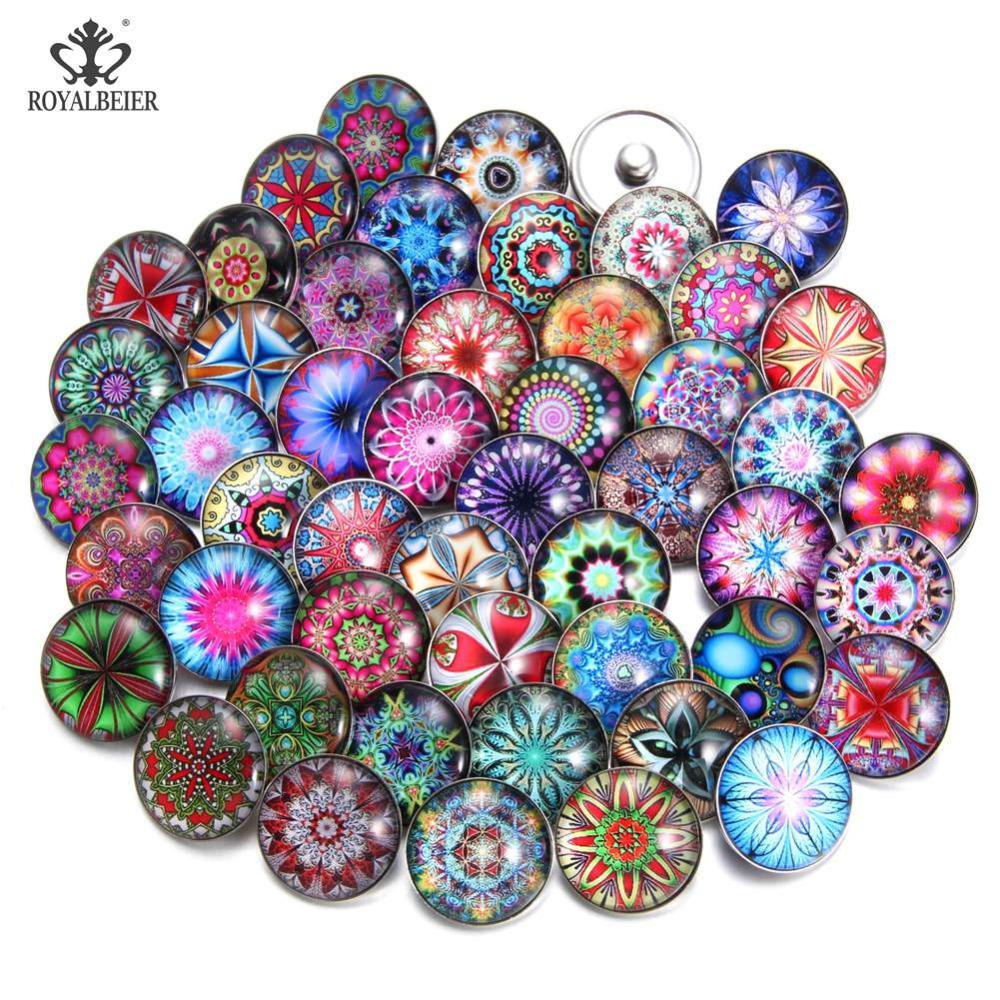 50pcs/lot Mixed 18mm Glass Snap Buttons Jewelrys