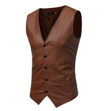 PU кожаные жилеты для Для мужчин Slim Fit Кожаные мужские из полиуретана Мужская жилетка, костюм жилет Homme Повседневное рукавов Формальное Бизнес куртка